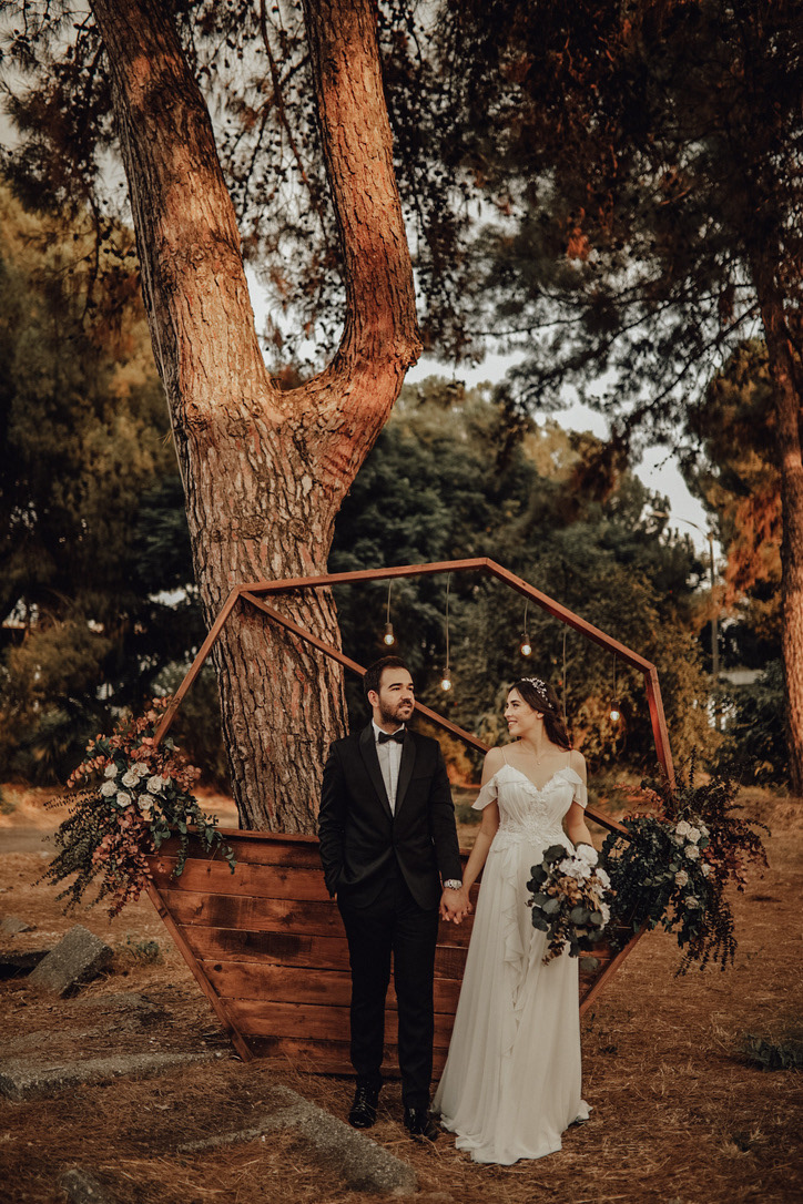 Image may contain: tree, outdoor and wedding dress